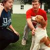 97/09/12-- Bessie --Takaaki Iwabu photo-- Jackie and Paul Siegmann play with their dog Bessie....(for Joan's story on Rabies immunization clinic) <br /> <br /> tmc photo