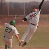 4/21/97--LEWPORT BASEBALL--DAN CAPPELLAZZO PHOTO--NIAGARA WHEATFIELD .S.S. RUDY JANESE GOES HIGH FOR  AN OVERTHROWN BALL AS PETE NASTASI STEALS SECOND BASE IN THE FIRST INNING.<br /> <br /> SP