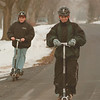 "98/01/28--go-ped --Takaaki Iwabu photo-- Mark Steiner, front, 13, and his friend John DiMino, 12, both from Lewiston, cruise on Hillside Dr. in Lewiston riding on their ""Go-Ped"" Wednesday afternoon. <br /> <br /> Grapevine photo"