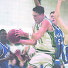 1/7/96-- LP vs GI- Takaaki Iwabu photo-- L-Port Michael House (#11) wins the rebound battle against Grand Island Jason Lizardo (#54). <br /> <br /> Wednesday, sports
