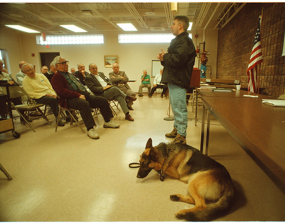 97/10/22 Police Dog - James Neiss Photo - NF Police Officer Shawn Larrabee talkes about his partnership with Shanko a police dog to a group at the John Duke Senior Center.