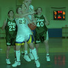 98/02/21 Lkpt Girls B'ball *Dennis Stierer photo - #23, Jamie Kudel and #21, Larissa Croff of Lockport both try to save a rebound, as #25, Colleen Tabor and #40 Jolene Johnston of Shenendehowa just watch.