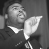 98/01/19-- MLK 2--Takaaki Iwabu photo-- Rev. Trevon Gross Sr., a pastor at St. John's A.M.E. Church, makes a remebrance speach on Martin Luther King. (.. may quote his words from Anne's story... ) <br /> <br /> local, Tuesday, bw, secondary