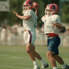 98/07/25-- Bills camp1--Takaaki Iwabu photo-- Bills new QB Rob Johnson gets loose at the opening day of the camp in Fredonia Saturday. <br /> <br /> sports, color, Sunday