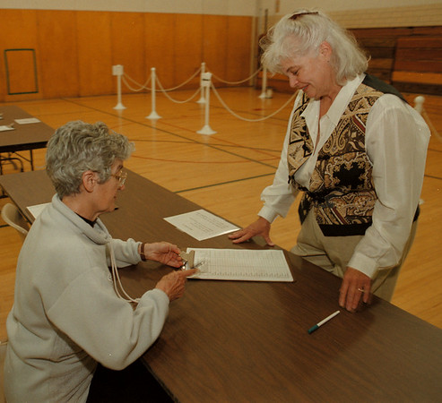 98/05/19--LEWISTON/SCHOOL VOTE(B&W)--DAN CAPPELLAZZO PHOTO--DIANA PALUMBO, LEWISTON, SIGNS IN WITH JO MARRA ELECTION INSPECTOR AT THE SOUTH BLDG. OF THE LEWPORT SCHOOLS, CREEK RD.<br /> <br /> LOCAL