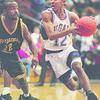 1/4/96-- NU basketball--Takaaki Iwabu photo-- NU Jeremiah Johnson drives to the basket against Applachian Ian Adams.
