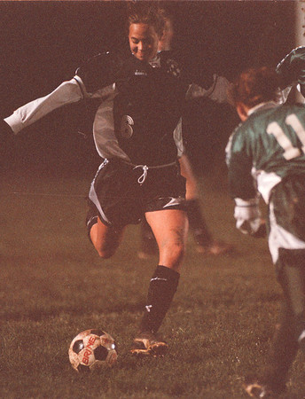 11/4/97 -- Soccer 2--Takaaki Iwabu photo-- Wilson HS Lindsay Andrasik in action.