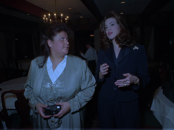 2/8/97 Miss America Visit - James Neiss Photo - Tara Dawn Holland, Miss America 1997, chats with Diane Smith, Executive Director of Literacy Volunteer Niagara Falls, Inc. durring a dinner at the Niagara Falls county club...
