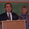 98/11/03 Maziarz Victorious *Dennis Stierer Photo -<br /> George Maziarz retains his seat as State Senator for the 61st District. Standing behind him is his girlfriend Beverly Denny.