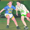 1/14/96-- Girls hoops --Takaaki Iwabu photo--  L-P Meghan House (42), right, dribbles in front of Lockport Diana Souliske (30). <br /> <br /> sports, daily, Wednesday