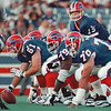 97/08/27 offensive line--Takaaki Iwabu photo-- Bills offensive line players set for the play at the pre-season game with Vikings. <br /> <br /> special, bw
