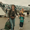 98/06/12 - Kiwi --Takaaki Iwabu photo-- Nancy Starzynski and her Caleb, 3, arrived on Niagara Falls International Airport Saturday morning with Kiwi's flight 710.  The two are from Springfield, New Jersey, and visiting their families in Niagara Falls. (for Karen's story on Kiwi)