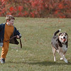 98/11/01 Benji *Dennis Stierer Photo -<br /> Justin Waas, 6 of Niagara Falls plays with his auntÕs dog ÒBenjiÕ on the grounds of Niagara University.