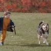 98/11/01 Benji *Dennis Stierer Photo -<br /> Justin Waas, 6 of Niagara Falls plays with his auntÕs dog ÒBenjiÕ on the grounds of Niagara University.