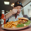 98/02/06 New Denny's - James Neiss Photo - Mike Kudela, a cook at the new Denny's, enjoys lunch during training days at the new Holliday Inn Denny's.