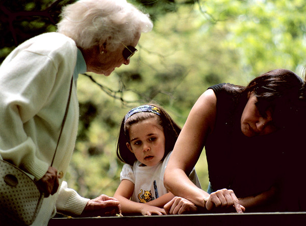 98/05/25 Grave Tracer-Rachel Naber Photo-Leah Adamson (left) and her grandaughter Leah Khatib (middle) tries to figure out the poem on an unmarked grave at FT. Niagara as her Daughter joy Khatib traces the letters.