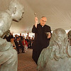 "5/2/97-- statue dedication-- Takaaki Iwabu photo-- Rev. Joseph Levesque CM, chairman of Board of Trustee of Niagara University, puts holy water during the dedication ceremony of statues ""St. Vincent and His Friends"" on NU campus Friday. <br /> <br /> Grapevine photo"