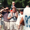 7/11/97- bills camp, 1a--Takaaki Iwabu photo-- David Crowley, 3, gets a lift from his father Jim as they and other  Bills fans follow the action of Andrea Reed (83) during the 1997 Buffalo Bills Training Camp at SUNY Fredonia.<br /> <br /> 1A, Sunday