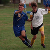 98/09 /16--LASALLE SOCCER--DAN CAPPELLAZZO PHOTO--LKPT MIDFIELDER ANDREW MINDERLER BATTLES WITH LASALLE MIDDY KEITH PENNELL IN FIRST HALF ACTION AT LASALLE MIDDLE SCHOOL FIELD.<br /> <br /> SP