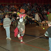 "98/02/28 Wire Walker *Dennis Stierer photo - ""HOBO"" the clown gets some help from Teri Wilson and Peter Lutz, both of Lockport when trying to do his High wire act."