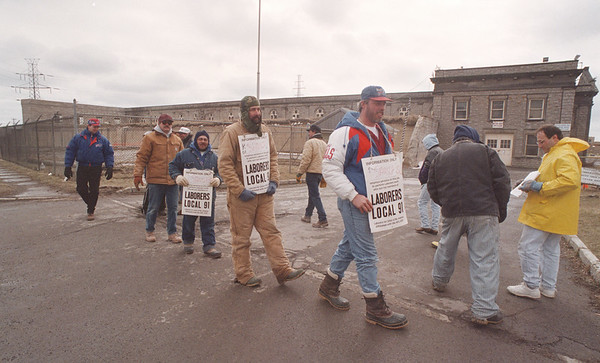 3/20/97 Water Dpt.  Picket - James Neiss Photo - Laborers from Local Union #91 picket the Water Dpt. on Buffalo Ave.