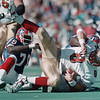 98/10/04 BILLS/49ERS SACK DAN CAPPELLAZZO PHOTO--BILLS DE MARCELLUS WILEY SACKS 49ERS QB STEVE YOUNG FOR AN 8 YR LOSS  AS BRUCE SMITH HELPS OUT EARLY IN THE 3RD QUARTER.<br /> <br /> SP