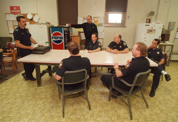 2/21/97 Sick Day Policy 2 - James Neiss Photo - Capt. Stefan Kundal, Union President of Local 3359 Fire Officers Association, talks to fire fighters about the sick day policy changes.<br /> 10th & Pine