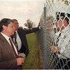97/10/03 Accident Consulting - James Neiss Photo - Niagara Falls Superintendent Carmen Granto, Niagara Catholic Vice Principal Marc Graff speak with NF police Capt. Andrew Viglucci about the accident and evacuation of the schools.