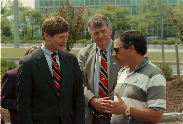 98/05/18 Lamar Smith 2 - James Neiss Photo - L-R . Congressman Lamar Smith (R-Texas) Chairman of the House Immigration Subcommittee, John J. Ingham, district director of the US dpt of Justice Immigration & Naturalization Service buffalo disk and Allen Gandell, general manager of the Niagara Falls Bridge Commission. During a recent visit to the falls Bridge Commission.