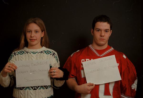 97/12/12 Beehzold/Saunders-Rachel Naber Photo-Lindsay Behzold, Lockport,Swimming/Nathan Saunders, Starpoint, Football