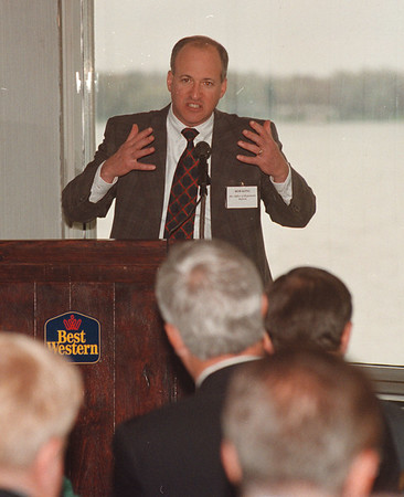 5/21/97 Bob King - James Neiss Photo - Bob King, Director of office of Regulatory Reform, speaks to area Businessmen at the Best Western.