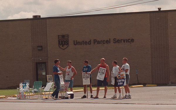 97/08/04 UPS Picketing 2 - James Neiss Photo - Strikers picket outside the Packard Road Facility.