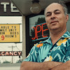 97/08/16--Vacant Motels --Takaaki Iwabu photo-- Joe Dakwar, owner of Sharon Motel on Niagara Falls Blvd., stands in front of his motel's billboard which signs a low rent-price for rooms in the middle of  the tourist season. <br /> <br /> Monday, 1A, color