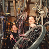 5/1/97 Police Bike Auction - James Neiss Photo - Niagara Falls Police DARE Officers Daniel Jones and Neil Stenzel show off some of the many bikes to be aucitoned off this saturday.