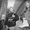 1/4/96-- skaters --Takaaki Iwabu photo-- The 10-year-olders Jessica Smist, left, and Katie Linn, both from Lockport, check out the decoration booth by Rotary International in Lacky Plaza before they go to Marine Midland Centennial Ice Rink Saturday. <br /> <br /> grapevine photo