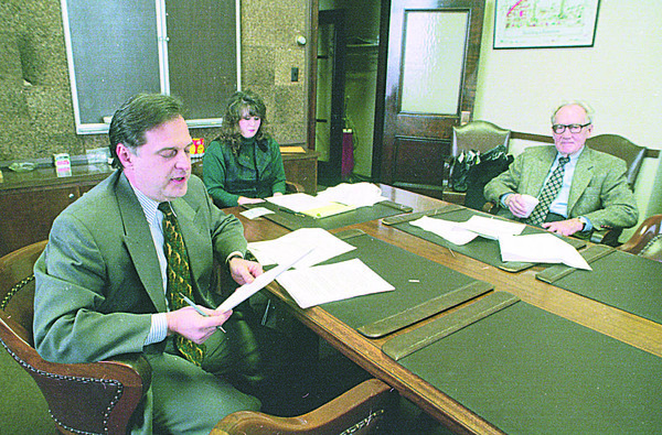 1/14/97 Teletech Funding Hearing - James Neiss Photo - Dateline City Hall -  L-R - Raymond Witzleben, Project Managaer with Empire State Development, Kim M. Haettich, Court Reporter and Hearing Officer, Francis R. Whitcher Attorney at Law.