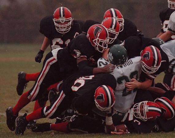 97/11/01--NW FOOTBALL 2--DAN CAPPELLAZZO PHOTO--THE NW DEF. BURRIES PIONEER HB JOE HAYWOOD IN FIRST HALF ACTION.<br /> <br /> SP
