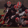 97/11/01--NW FOOTBALL 2--DAN CAPPELLAZZO PHOTO--THE NW DEF. BURRIES PIONEER HB JOE HAYWOOD IN FIRST HALF ACTION.<br /> <br /> SP