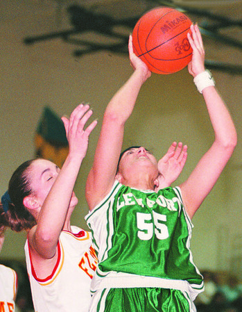 2/24/97--GIRLS HOOPS 2/COLOR--DAN CAPPELLAZZO PHOTO--LEWPORTS TONI MAURO BATTLES WITH W.E.  LINDSAY BRENT IN 2HD QUARTER ACTION.<br /> <br /> SP[
