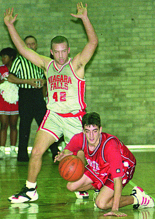 1/22/96--NF HOOPS--CAPPY PHOTO--NF'S Joe Wright guards NT's Mark Nachreiner in second half action at NF High.<br /> <br /> sports