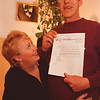 "2/26/97-- j. white --takaaki iwabu photo-- Jack White holds a letter from Social Security Office which ""proclaiming that you are no deseased."" Looking on is his wife Leslie. <br /> <br /> 3A, local"