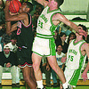 12/16/96--HOOPS--CAPPY PHOTO--LEWPORTS JASON JOHNSON  STUFFS N.W.'S FRANK CARTER IN FIRST QUARTER ACTION AT LEW PORT HIGH.<br /> <br /> SP