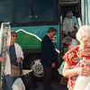 7/10/97 bus tour 1--Takaaki Iwabu photo-- Locals who joined the shopping tour by Niagara Scenic leave the bus at Cedar Ave. Thursday. <br /> <br /> Sunday, feature, color