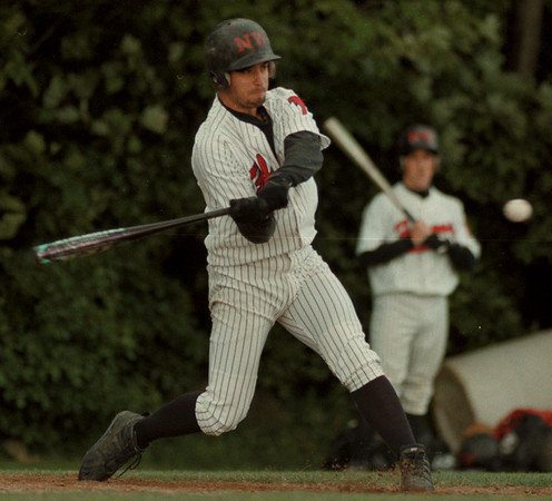 98/06/03-- HS baseball --Takaaki Iwabu photo-- Niagara Wheatfield High School Frank Pavicich singled to the center at the first inning of sectional playoff game agaisnt Sweet Home High School. Falcons came short (score 3-1) and  ended their season.