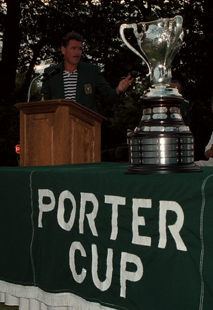 98/07/25 Porter Cup Winner 2 - James Neiss Photo - Porter Cup Winner Gene Elliott of West Des Moines, IO, Takes to the posium to say a few words after winning the 40th Porter Cup at the Niagara Falls Country Club in Lewiston, NY.