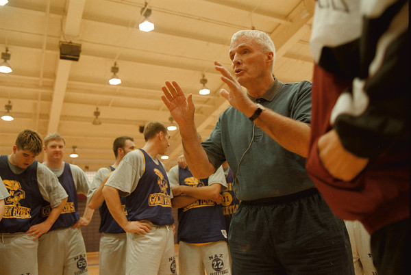 98/11/07 Hubie Brown - Vino Wong Photo - Hubie Brown conducts a coaches clinic during the Purple Eagles Basketball clinic at the Gallagher Center, Niagara University Saturday.