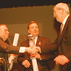 98/01/20--Development 3--Takaaki Iwabu photo-- David Crombie, left, chair of Waterfront Regeneration Trust, presents the blueprint of downtown development plan to Niagara Falls Mayor James Galie, middle, and William G. Mayne, Jr., chairman of Niagara Falls  Chamber of Commerce.   --1A, color, Wedmesday
