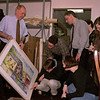 98/02/06 - Penney, Charles *Dennis Stierer photo - A  group of graduate students from Buffalo State College had the recent pleasure of hearing Charles Rand Penney talk to them about the restoration and storage of art works of all kinds. The students are working towards a degree in Art Conservation, which Buffalo State teaches and is only one of very, very few that do. The man standing with the tie on is one of the Associate Professors, James Hamm.