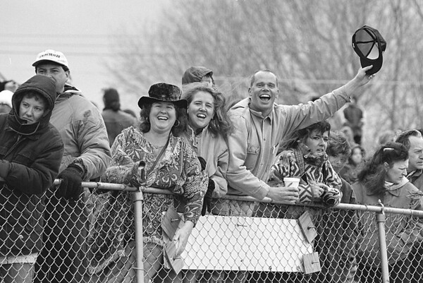 3/2/97--SPECTATORS--DAN CAPPELLAZZO--MARY SAJDAK, OF BARKER (CENTER WITH SMILE) CHEERS ON HER BROTHERS (WHO ARE IN THE POLAR BEAR SWIM, OLCOTT BEACH) ALONG WITH SISTER AND BROTHER IN LAW KATHY AND DAN CARLSON VISTING FROM DUNEDEN, FLA.<br /> <br /> GR