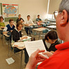 5/13/97--REGENTS CLASS--DAN CAPPELLAZZO PHOTO--LASALLE 10TH GRADE REGENTS TEACHER JIM ANDREWS GOES OVER THE JUNE 17TH REGENTS SCHEDULE WITH HIS CLASS.<br /> <br /> 1A NEWS